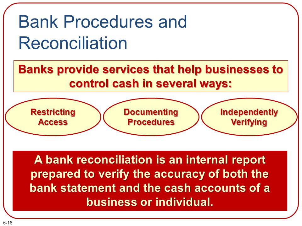 6-16 Bank Procedures and Reconciliation Banks provide services that help businesses to control cash in several ways: Restricting Access Documenting Pr