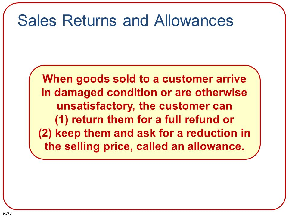 6-32 Sales Returns and Allowances When goods sold to a customer arrive in damaged condition or are otherwise unsatisfactory, the customer can (1) retu