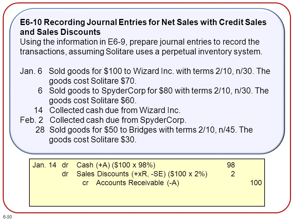 6-50 E6-10 Recording Journal Entries for Net Sales with Credit Sales and Sales Discounts Using the information in E6-9, prepare journal entries to rec