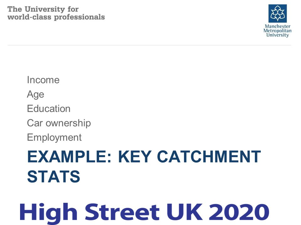 EXAMPLE: KEY CATCHMENT STATS Income Age Education Car ownership Employment