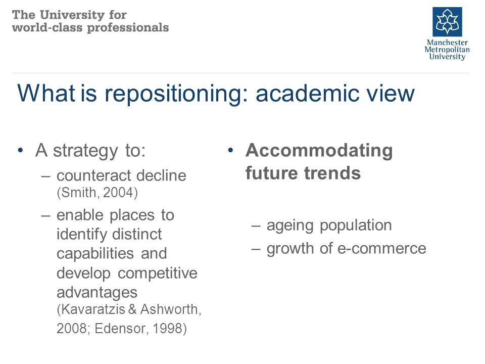 What is repositioning: academic view A strategy to: –counteract decline (Smith, 2004) –enable places to identify distinct capabilities and develop competitive advantages (Kavaratzis & Ashworth, 2008; Edensor, 1998) Accommodating future trends –ageing population –growth of e-commerce