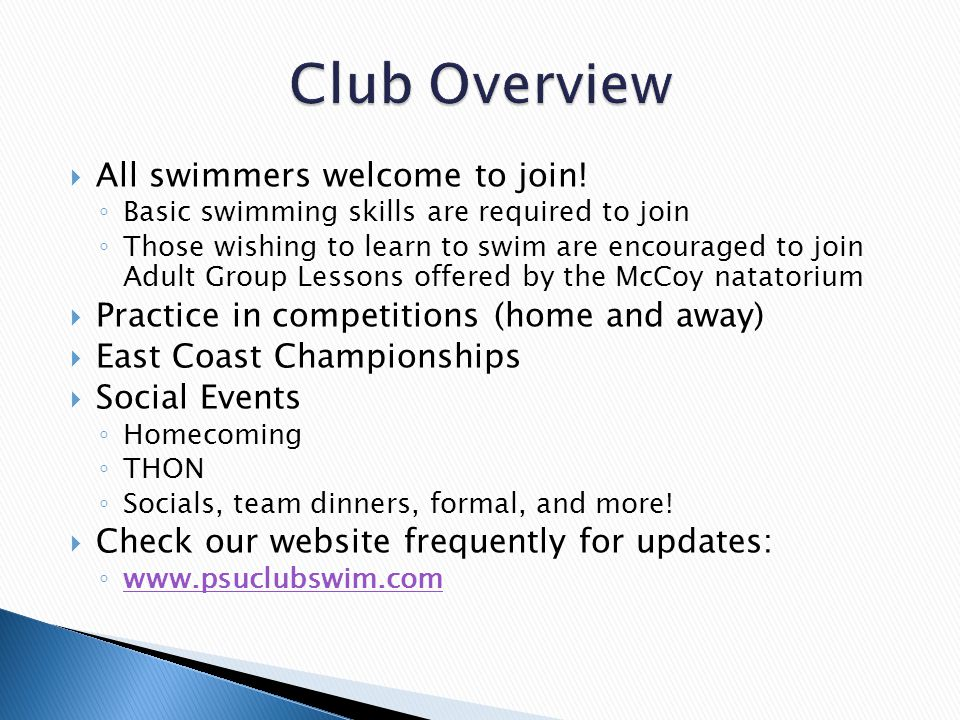  All swimmers welcome to join.