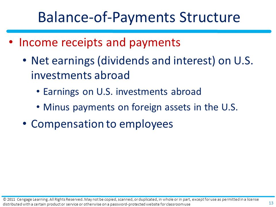 Balance-of-Payments Structure Income receipts and payments Net earnings (dividends and interest) on U.S.