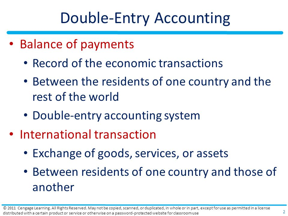 Double-Entry Accounting Residents Businesses, individuals, and government agencies That make the country in question their legal domicile Credit transaction (+) Receipt of a payment from foreigners Debit transaction (-) Payment to foreigners © 2011 Cengage Learning.