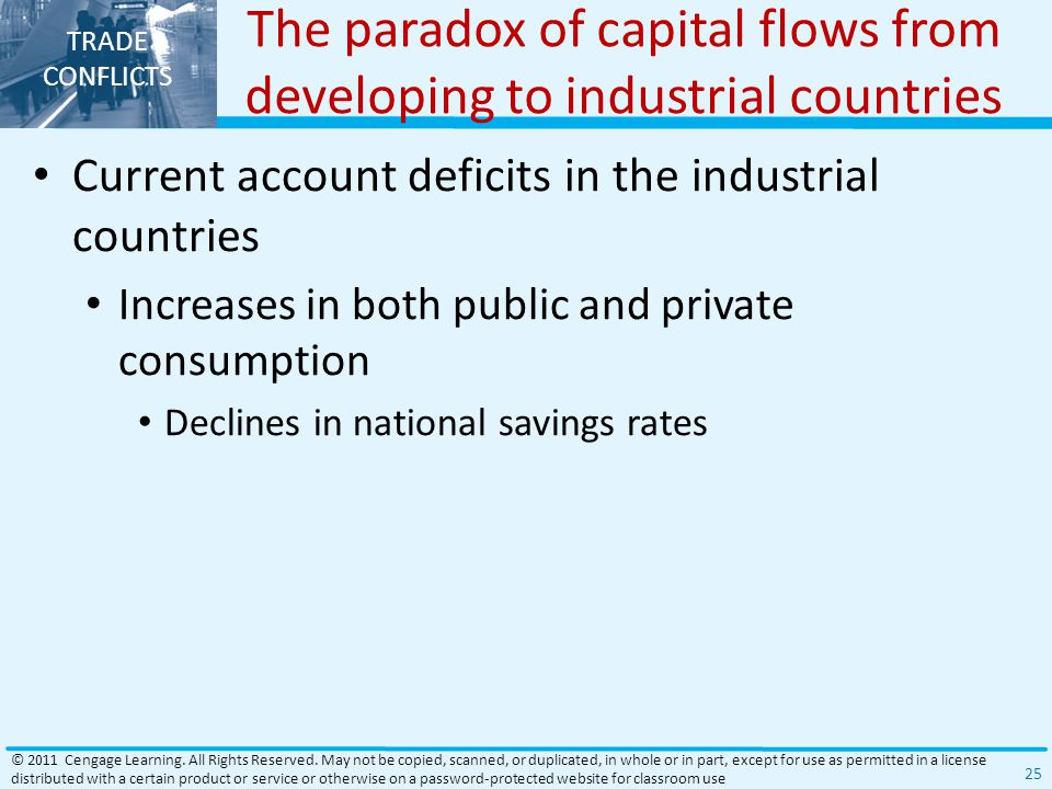 TRADE CONFLICTS The paradox of capital flows from developing to industrial countries Current account deficits in the industrial countries Increases in both public and private consumption Declines in national savings rates © 2011 Cengage Learning.