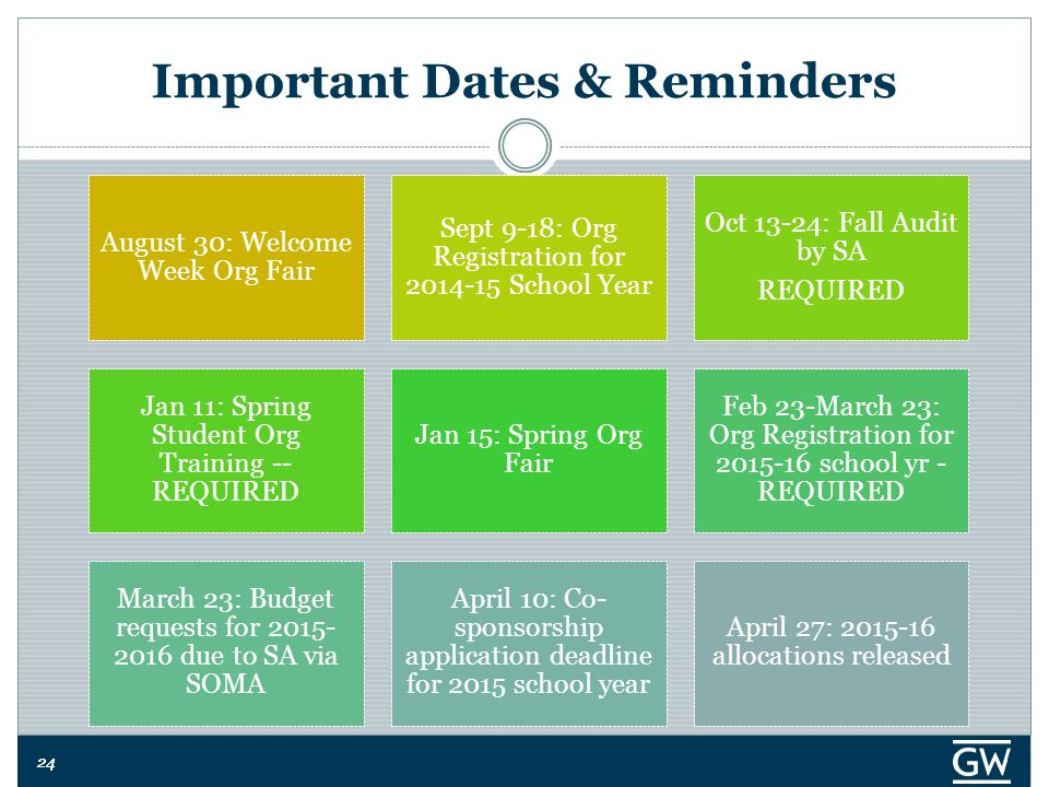 24 Important Dates & Reminders August 30: Welcome Week Org Fair Sept 9-18: Org Registration for 2014-15 School Year Oct 13-24: Fall Audit by SA REQUIR