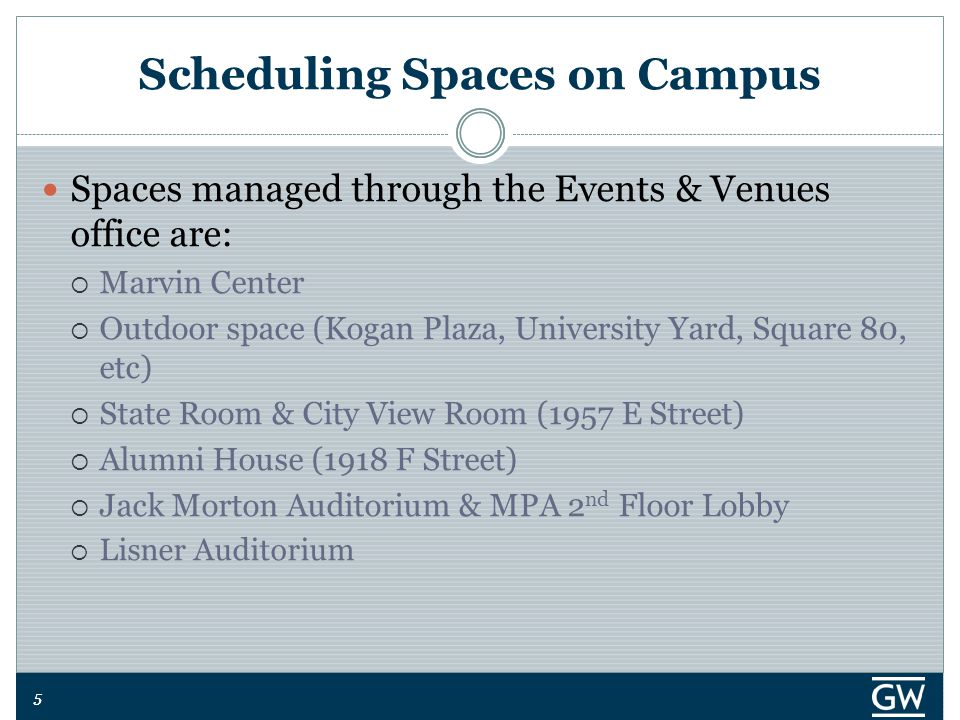 55 Scheduling Spaces on Campus Spaces managed through the Events & Venues office are:  Marvin Center  Outdoor space (Kogan Plaza, University Yard, S