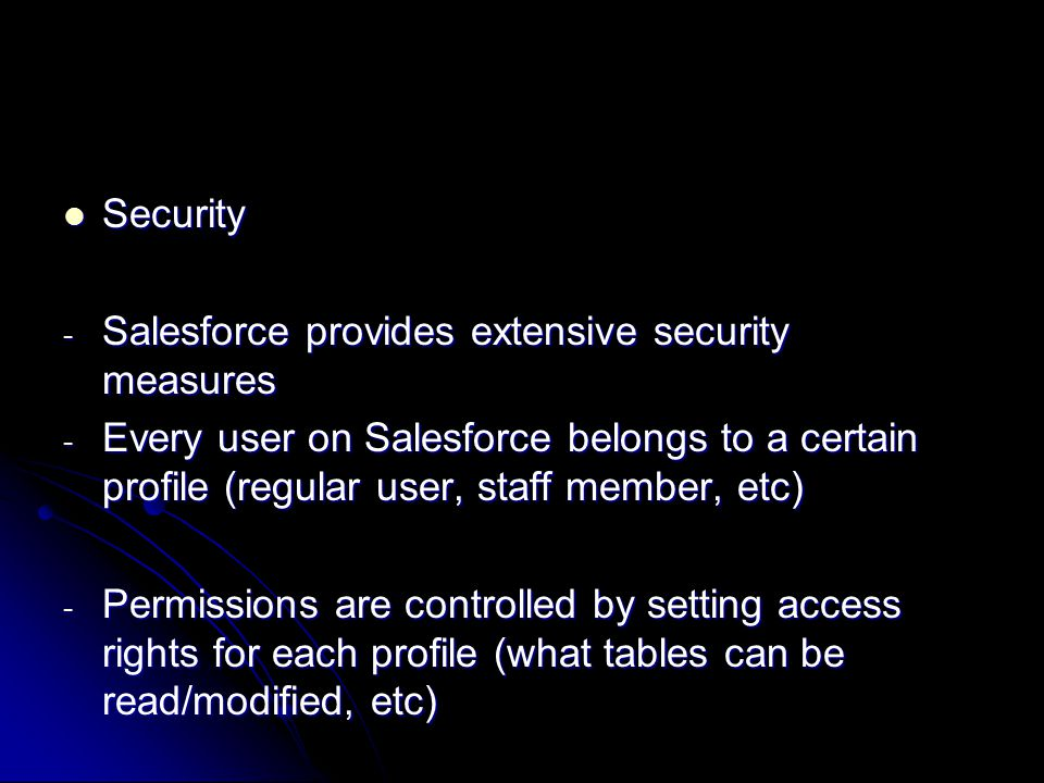 Permissions for Staff members