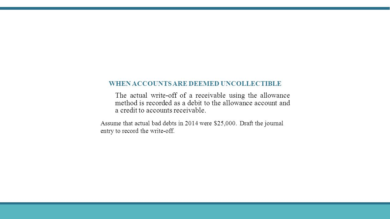 WHEN ACCOUNTS ARE DEEMED UNCOLLECTIBLE The actual write-off of a receivable using the allowance method is recorded as a debit to the allowance account