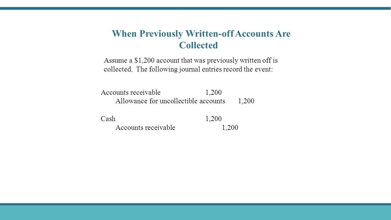 When Previously Written-off Accounts Are Collected Assume a $1,200 account that was previously written off is collected. The following journal entries