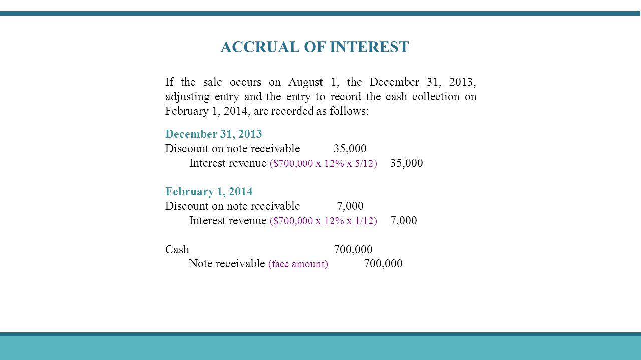 If the sale occurs on August 1, the December 31, 2013, adjusting entry and the entry to record the cash collection on February 1, 2014, are recorded as follows: December 31, 2013 Discount on note receivable 35,000 Interest revenue ($700,000 x 12% x 5/12) 35,000 February 1, 2014 Discount on note receivable 7,000 Interest revenue ($700,000 x 12% x 1/12) 7,000 Cash 700,000 Note receivable (face amount) 700,000 ACCRUAL OF INTEREST