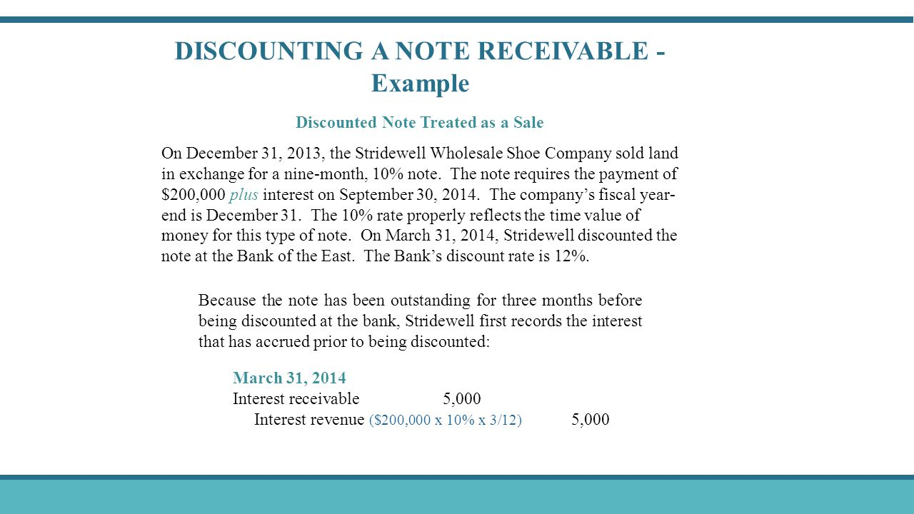 DISCOUNTING A NOTE RECEIVABLE - Example Discounted Note Treated as a Sale On December 31, 2013, the Stridewell Wholesale Shoe Company sold land in exc