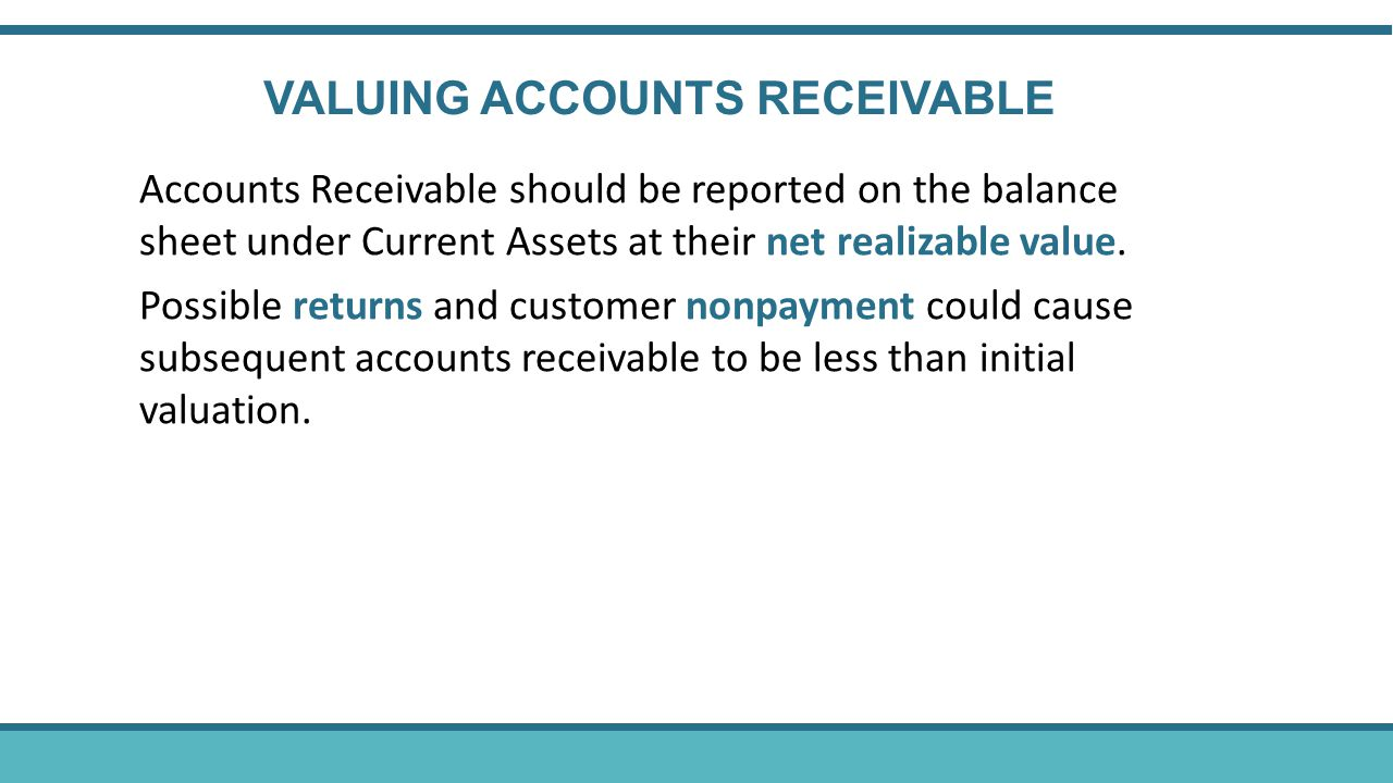 Accounts Receivable should be reported on the balance sheet under Current Assets at their net realizable value.