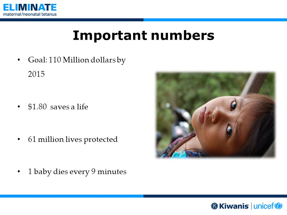 Important numbers Goal: 110 Million dollars by 2015 $1.80 saves a life 61 million lives protected 1 baby dies every 9 minutes