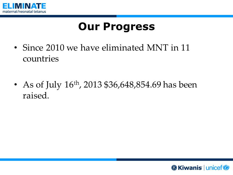 Our Progress Since 2010 we have eliminated MNT in 11 countries As of July 16 th, 2013 $36,648,854.69 has been raised.