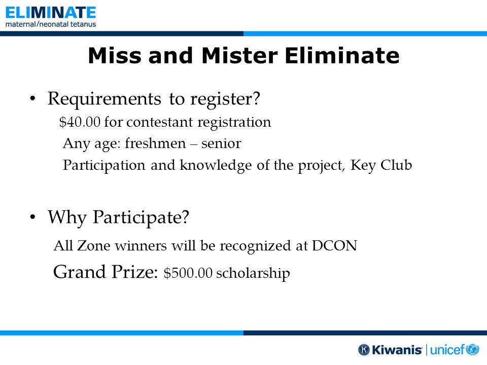 Miss and Mister Eliminate Requirements to register.