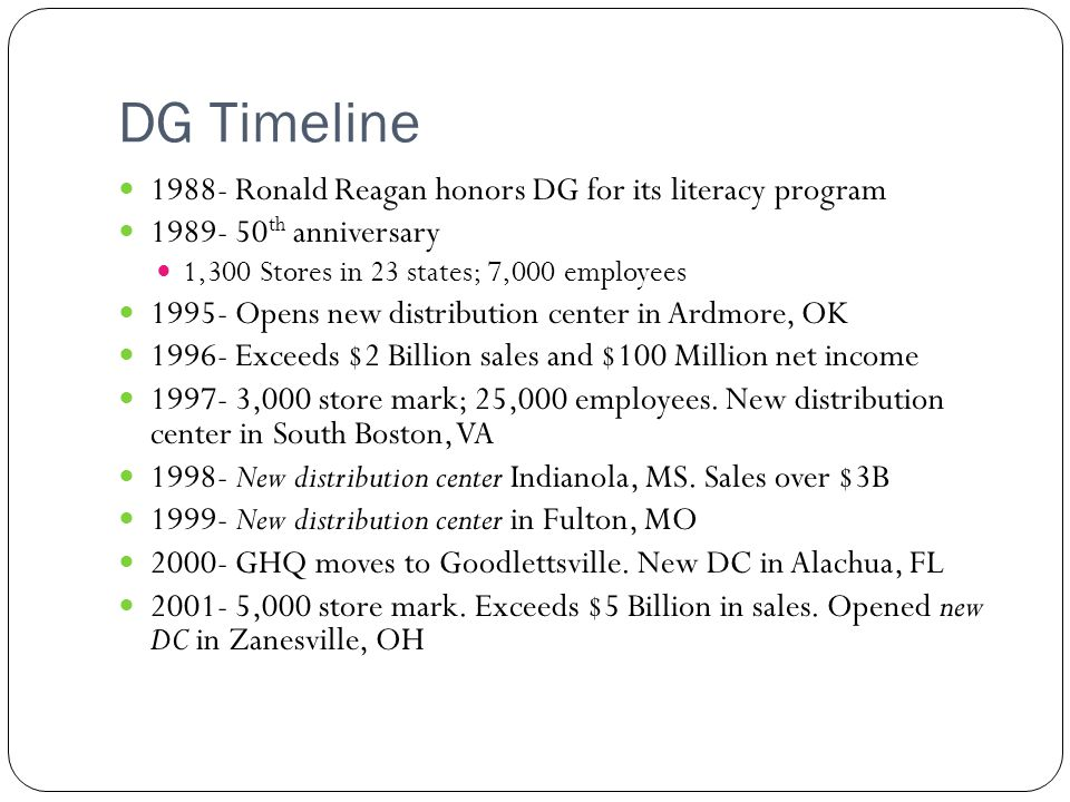 DG Timeline 1988- Ronald Reagan honors DG for its literacy program 1989- 50 th anniversary 1,300 Stores in 23 states; 7,000 employees 1995- Opens new distribution center in Ardmore, OK 1996- Exceeds $2 Billion sales and $100 Million net income 1997- 3,000 store mark; 25,000 employees.