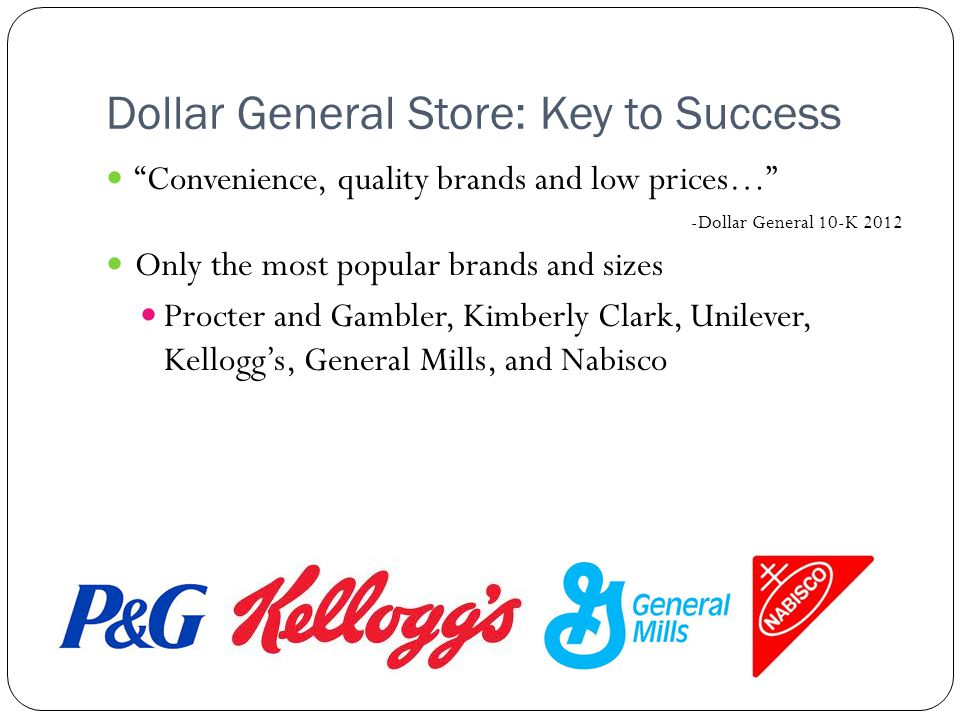 Dollar General Store: Key to Success Convenience, quality brands and low prices… -Dollar General 10-K 2012 Only the most popular brands and sizes Procter and Gambler, Kimberly Clark, Unilever, Kellogg's, General Mills, and Nabisco