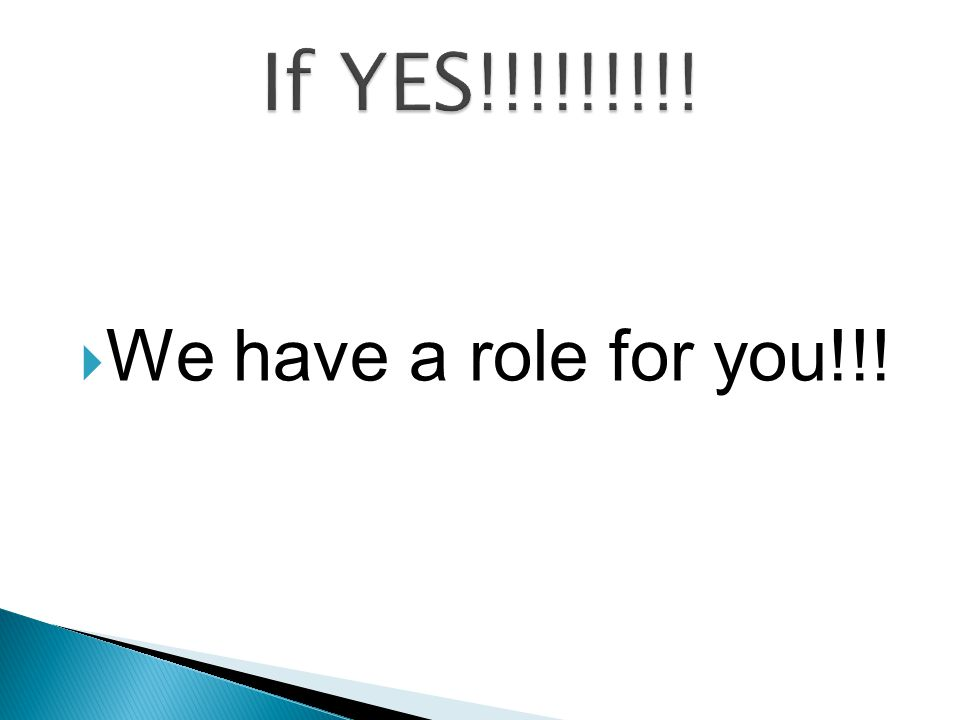  We have a role for you!!!