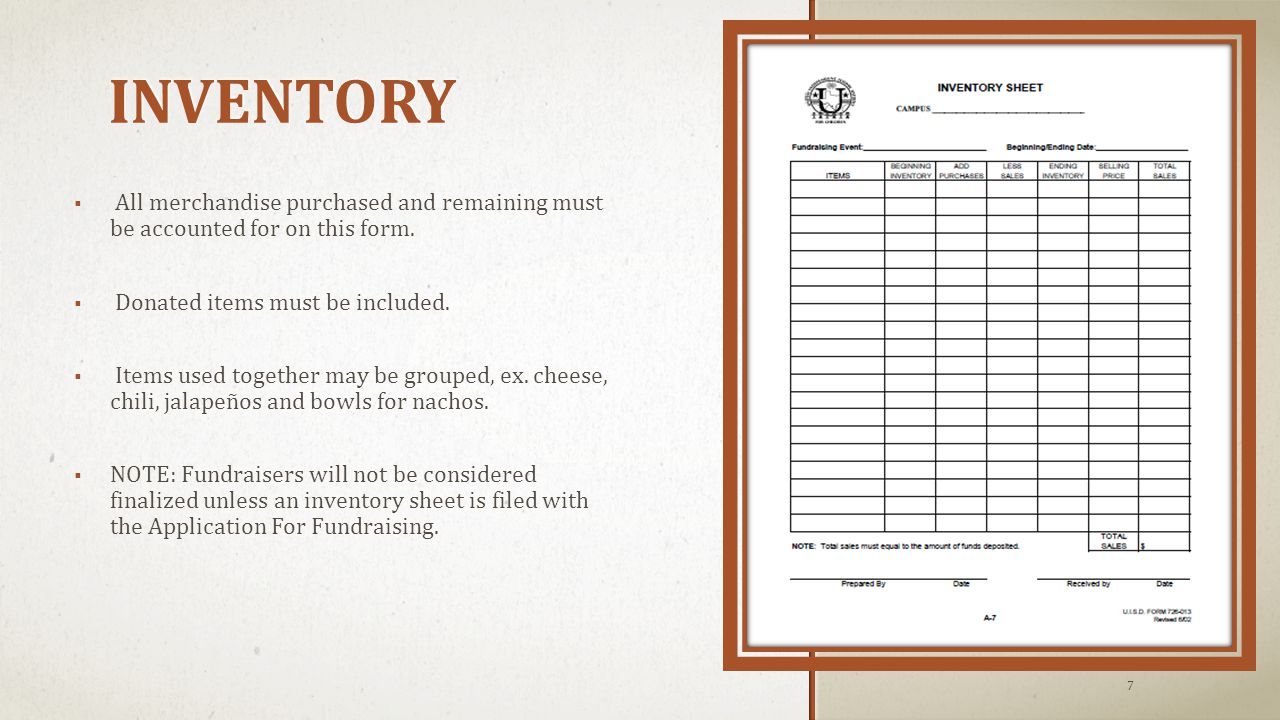 INVENTORY  All merchandise purchased and remaining must be accounted for on this form.