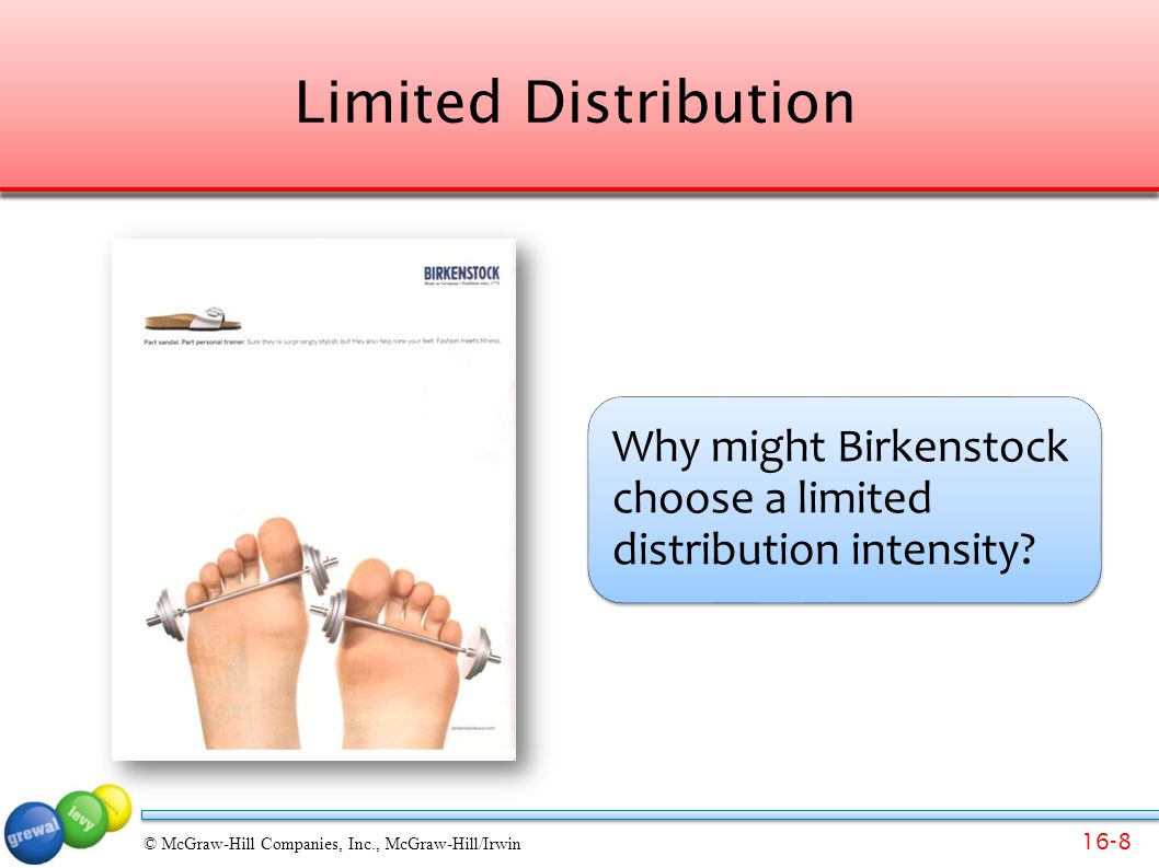 16-39 © McGraw-Hill Companies, Inc., McGraw-Hill/Irwin Glossary Selective distribution uses a few selected customers in a territory.