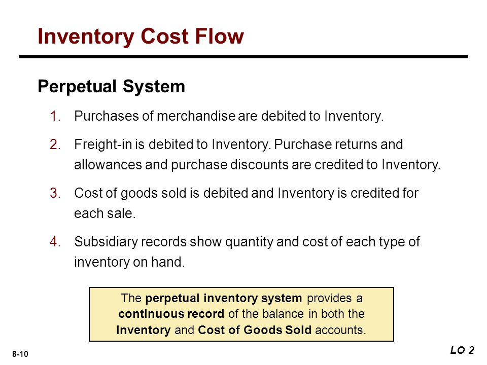 8-10 Perpetual System 1.Purchases of merchandise are debited to Inventory.