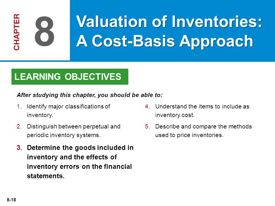 8-18 4.Understand the items to include as inventory cost.
