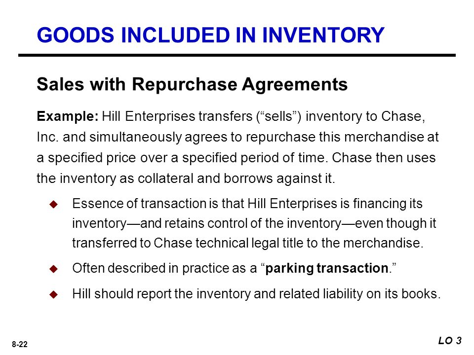8-22 Example: Hill Enterprises transfers ( sells ) inventory to Chase, Inc.