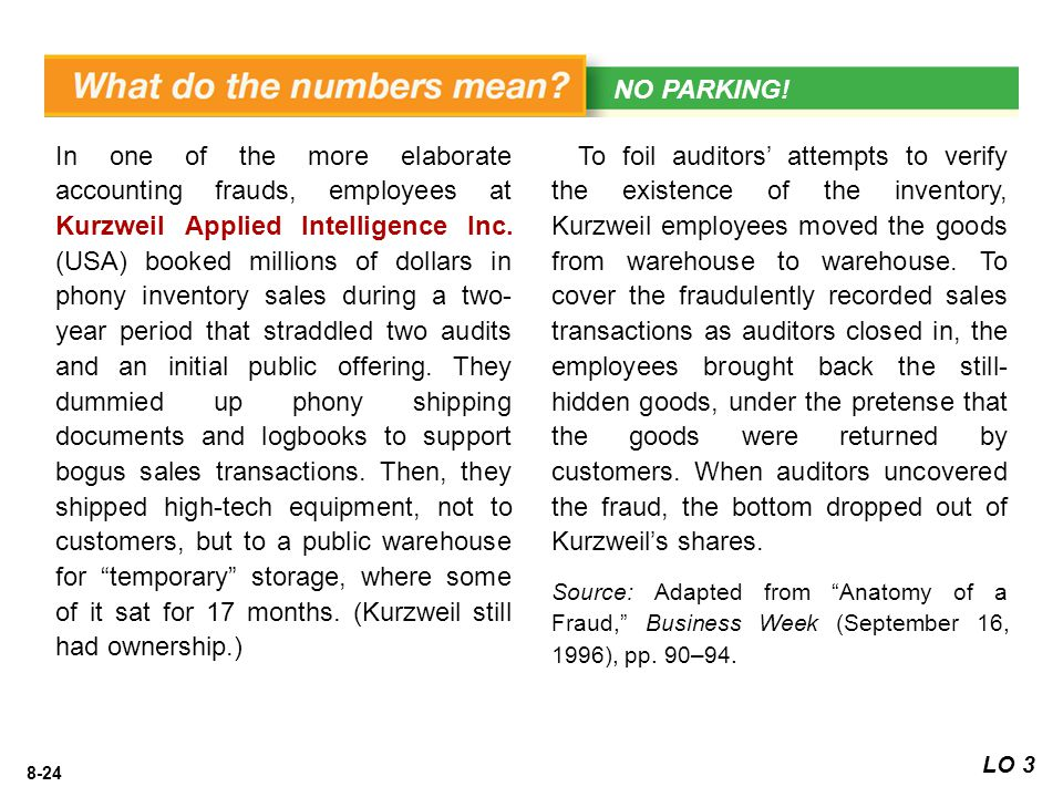8-24 In one of the more elaborate accounting frauds, employees at Kurzweil Applied Intelligence Inc.