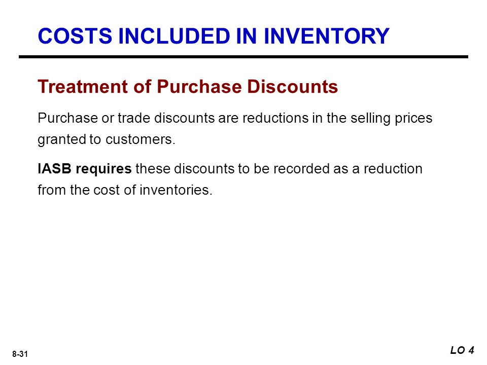 8-31 Purchase or trade discounts are reductions in the selling prices granted to customers.