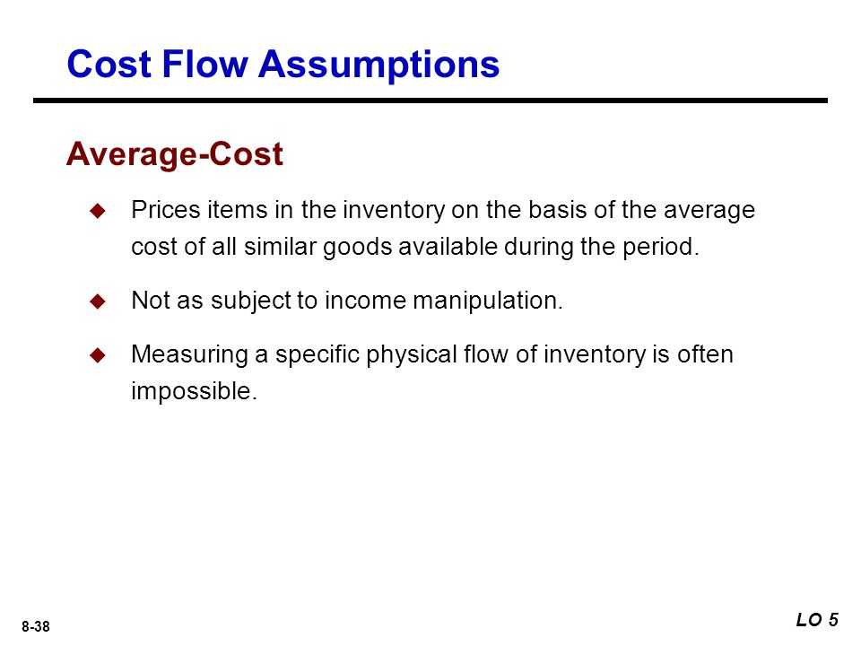 8-38  Prices items in the inventory on the basis of the average cost of all similar goods available during the period.