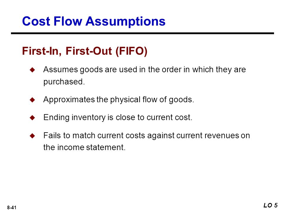 8-41  Assumes goods are used in the order in which they are purchased.