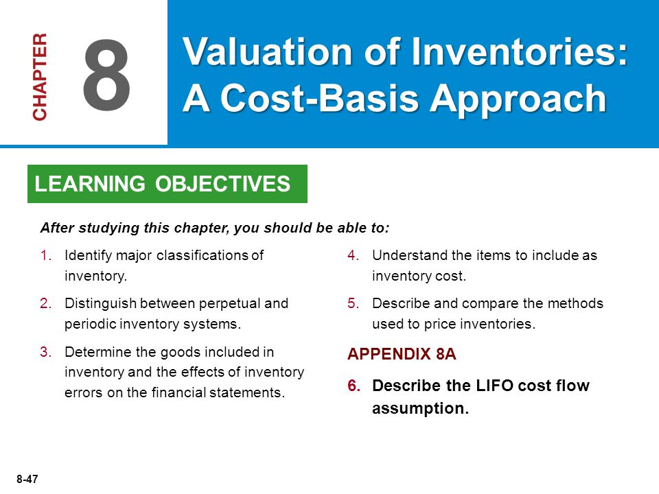 8-47 4.Understand the items to include as inventory cost.