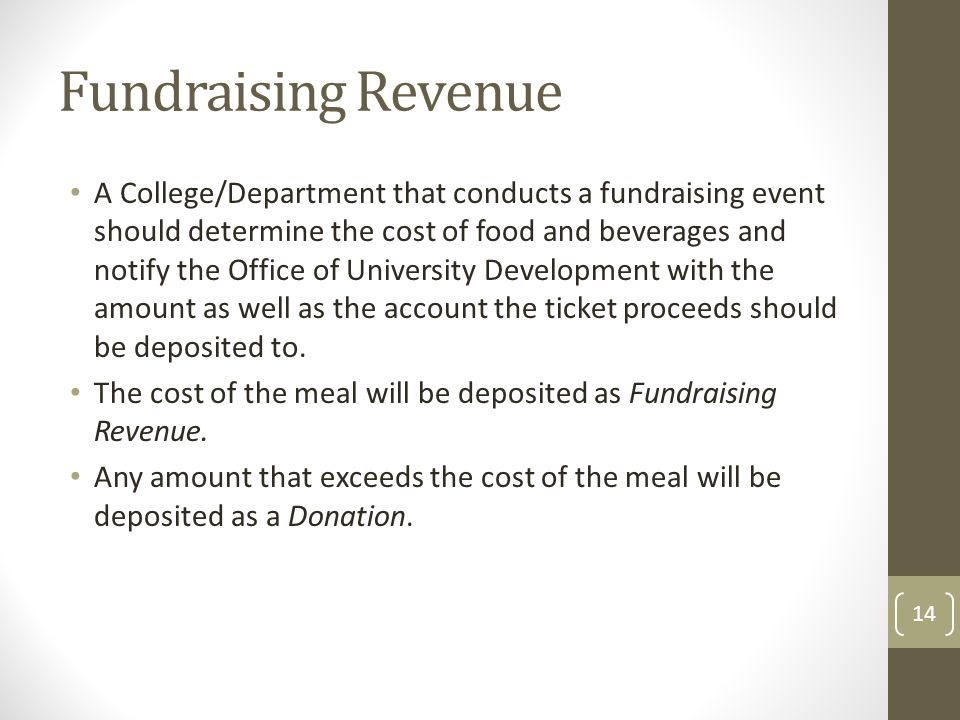 Fundraising Revenue A College/Department that conducts a fundraising event should determine the cost of food and beverages and notify the Office of University Development with the amount as well as the account the ticket proceeds should be deposited to.