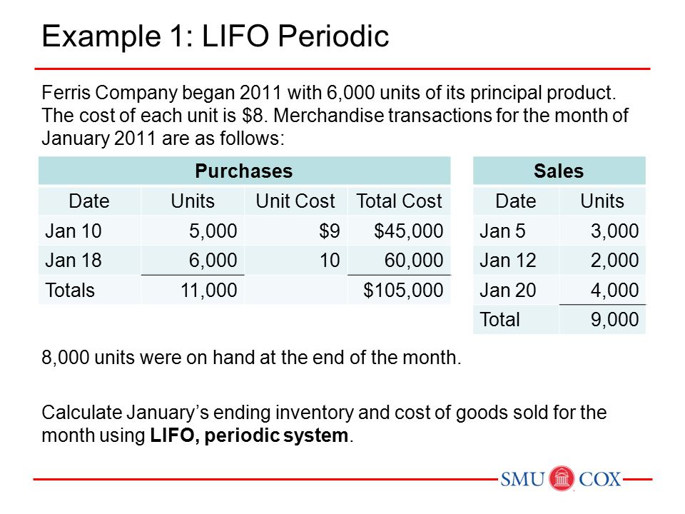 Example 1: LIFO Periodic Ferris Company began 2011 with 6,000 units of its principal product.