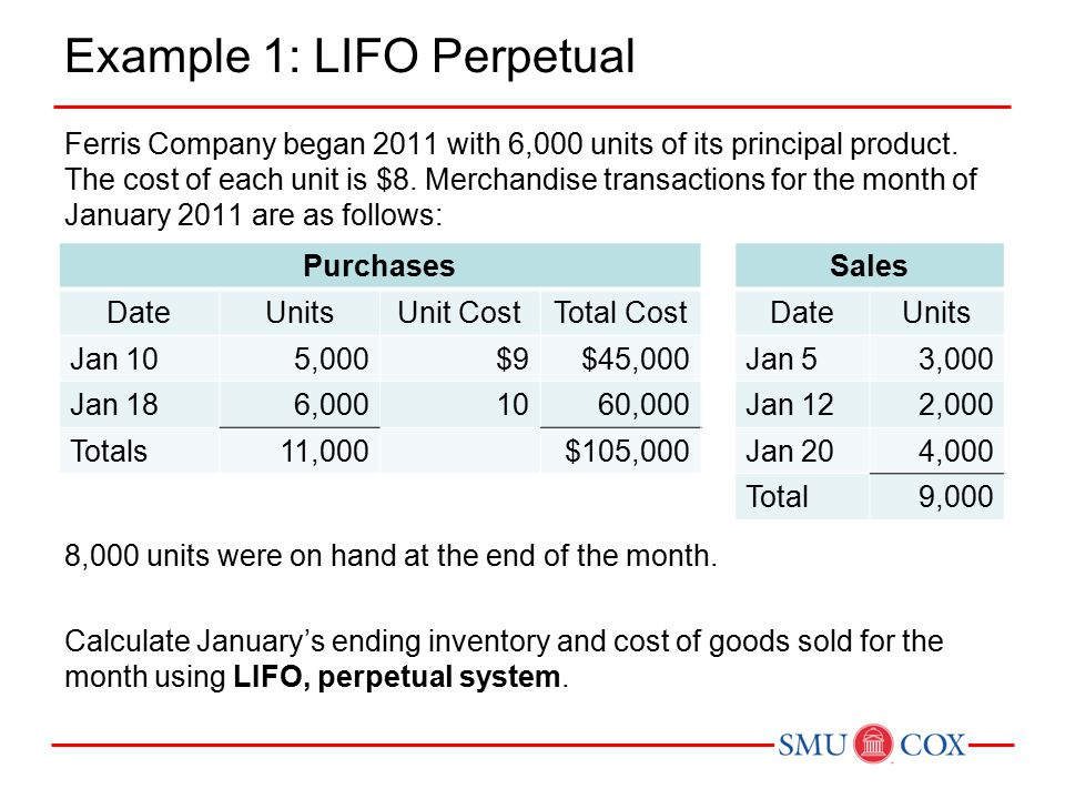 Example 1: LIFO Perpetual Ferris Company began 2011 with 6,000 units of its principal product.