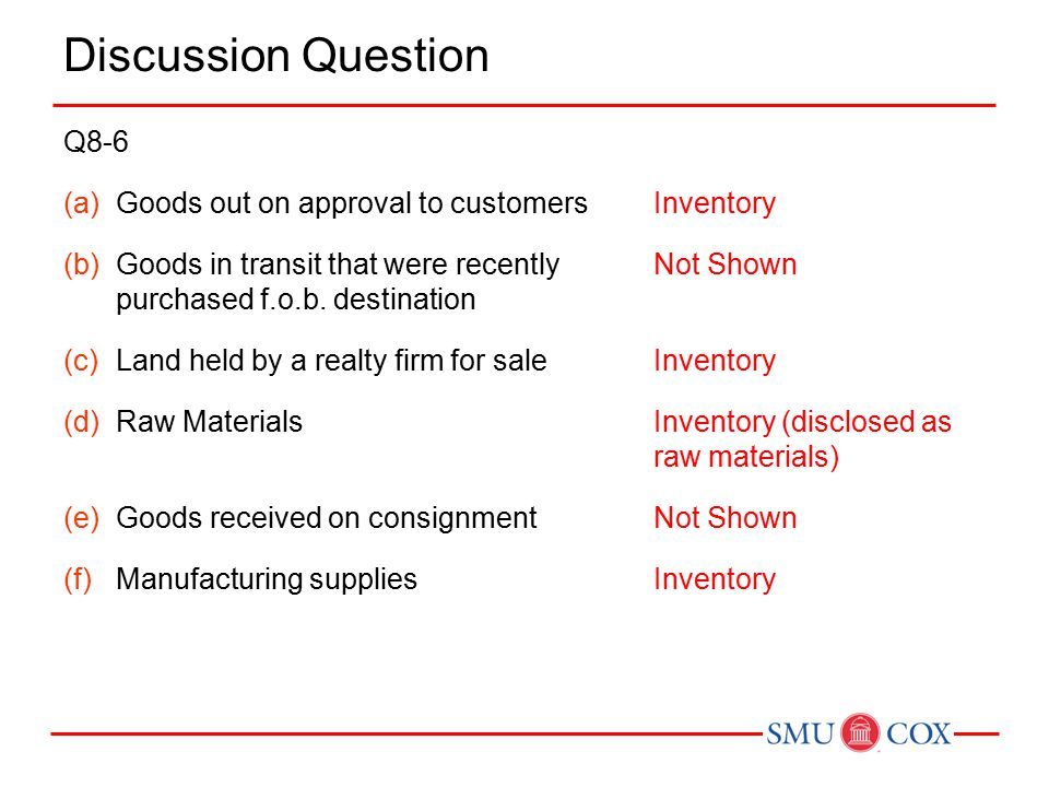 Discussion Question Q8-6 (a)Goods out on approval to customers (b)Goods in transit that were recently purchased f.o.b.