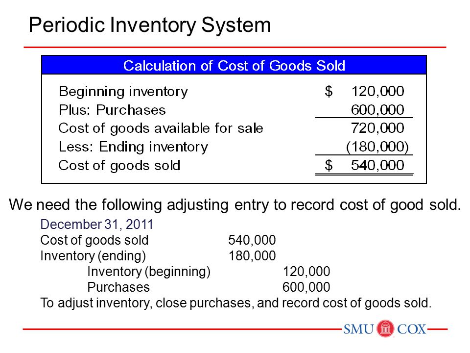 Periodic Inventory System We need the following adjusting entry to record cost of good sold.