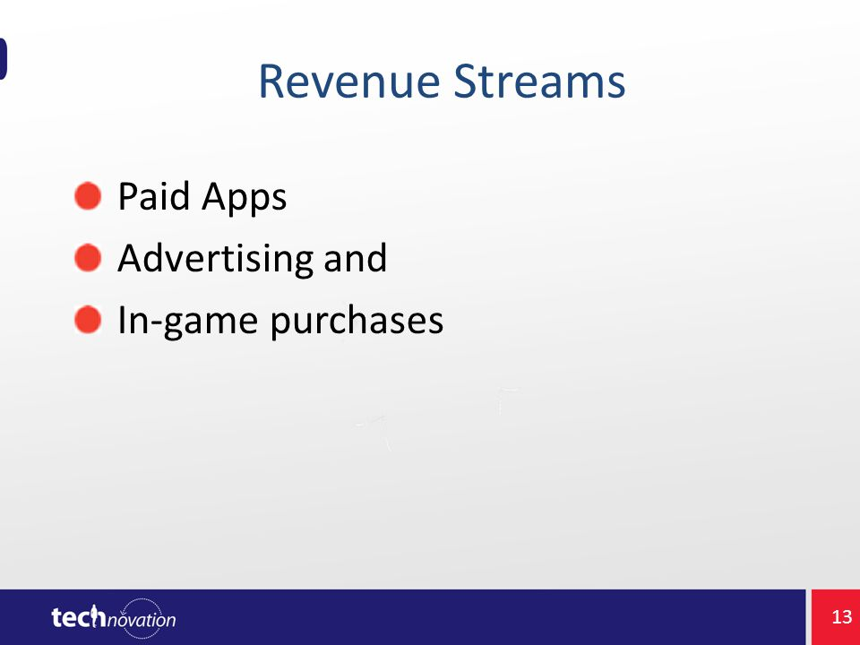 Revenue Streams Paid Apps Advertising and In-game purchases 13