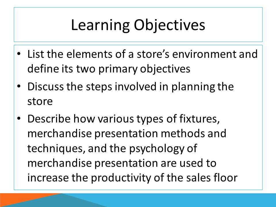Merchandise Presentation Planning Folding large, unwieldy softlines merchandise folded and then stacked onto shelves Stacking- Large hardlines merchandise stacked on: Shelves, base decks of gondolas, or flats Dumping- Merchandise dumped in bins or baskets inserted into gondolas or wall systems Effective promotional method L O 3