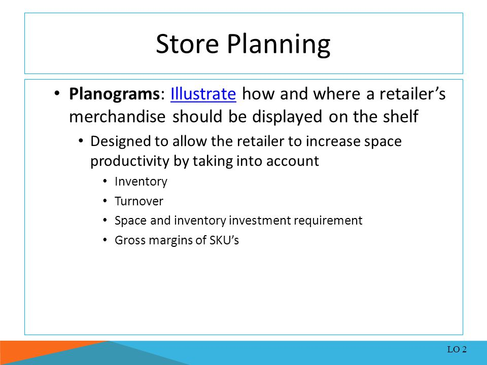 Store Planning Planograms: Illustrate how and where a retailer's merchandise should be displayed on the shelfIllustrate Designed to allow the retailer
