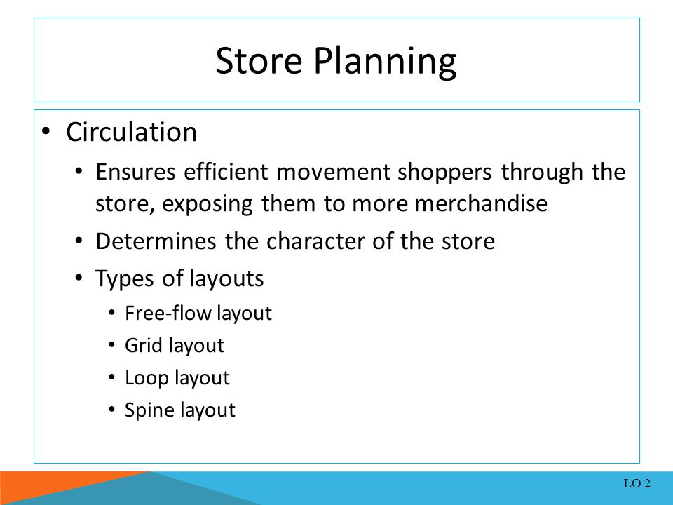 Store Planning Circulation Ensures efficient movement shoppers through the store, exposing them to more merchandise Determines the character of the st