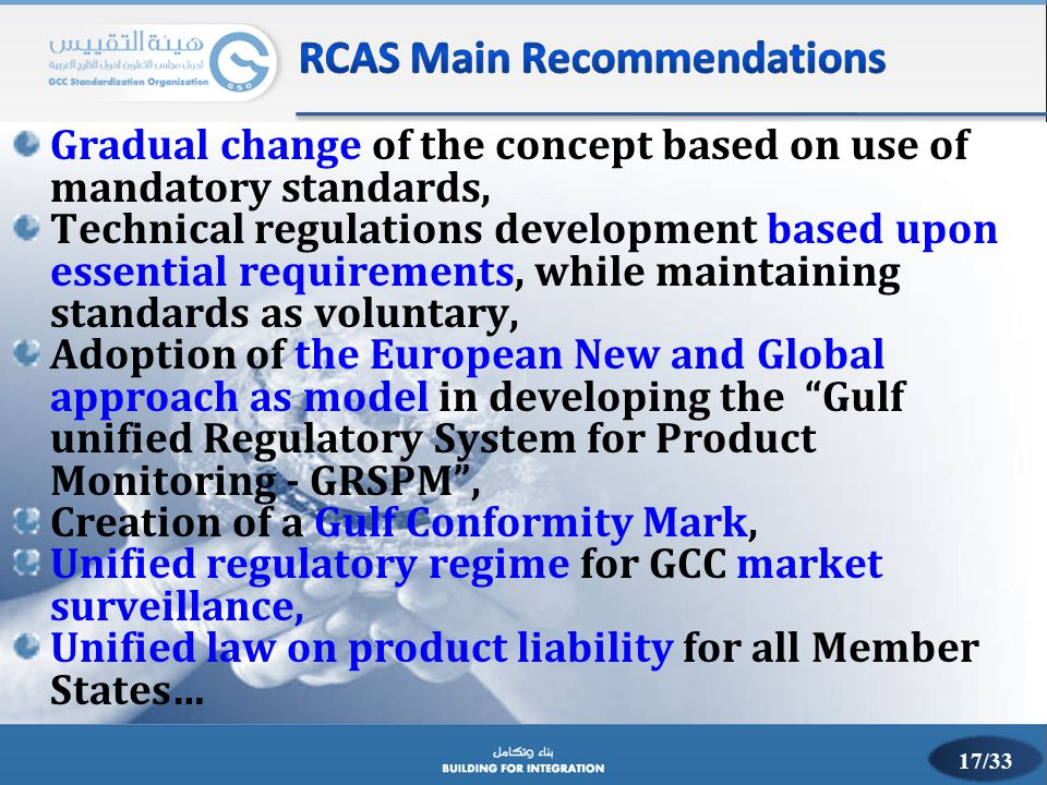 Gradual change of the concept based on use of mandatory standards, Technical regulations development based upon essential requirements, while maintain