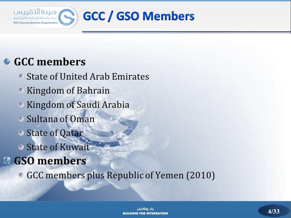 GCC members State of United Arab Emirates Kingdom of Bahrain Kingdom of Saudi Arabia Sultana of Oman State of Qatar State of Kuwait GSO members GCC me