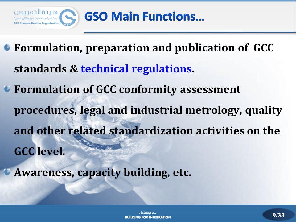 Formulation, preparation and publication of GCC standards & technical regulations. Formulation of GCC conformity assessment procedures, legal and indu