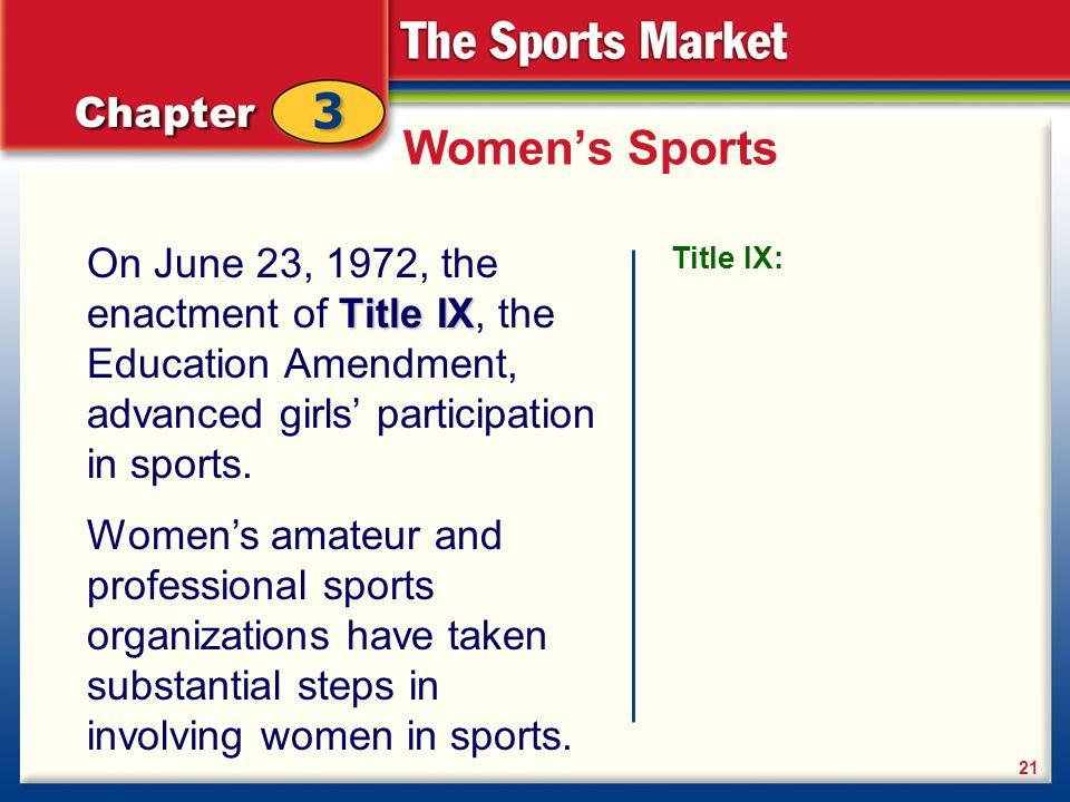 Women's Sports Title IX On June 23, 1972, the enactment of Title IX, the Education Amendment, advanced girls' participation in sports. 21 Title IX: Wo