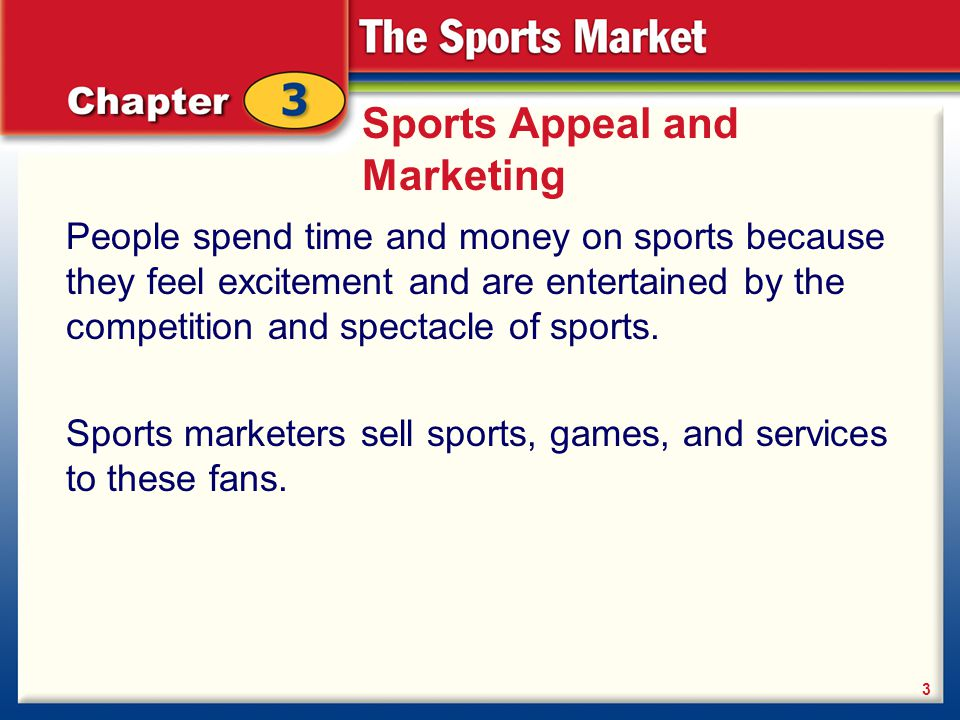 Sports Appeal and Marketing sports marketing The two major components of sports marketing are: sports marketing: 4 The marketing of sports Marketing through sports