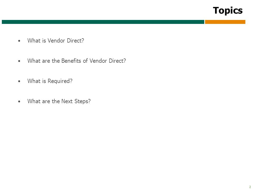 3 3 What is Vendor Direct.