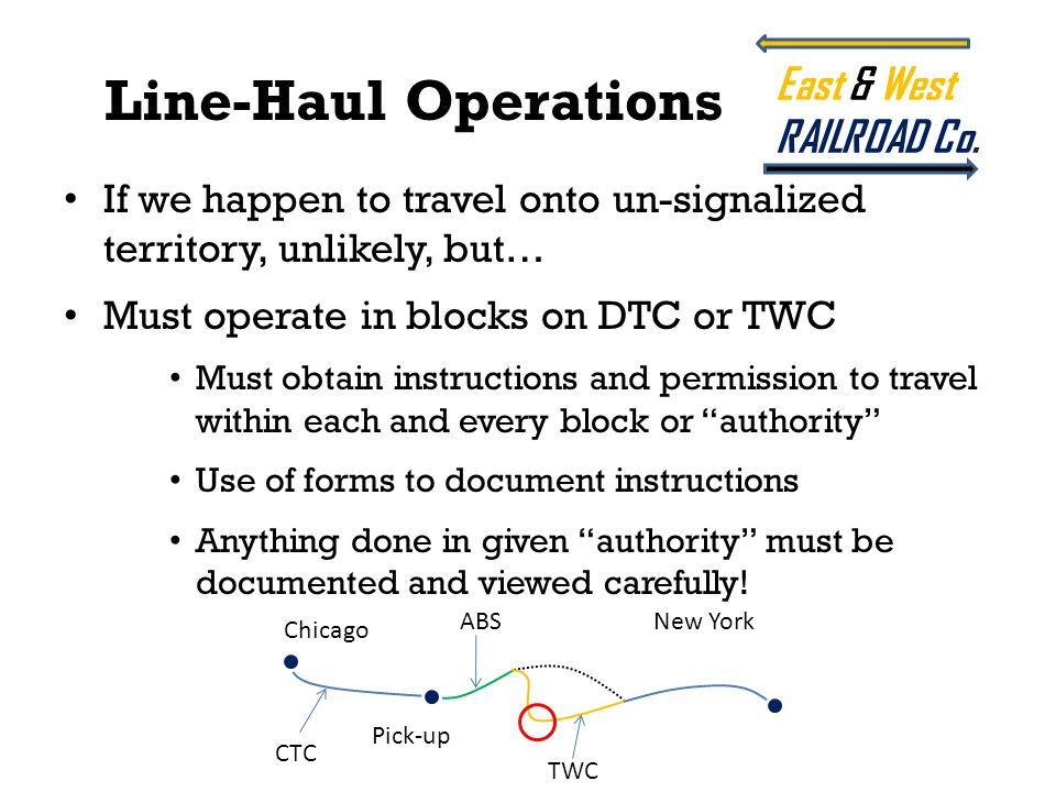 If we happen to travel onto un-signalized territory, unlikely, but… Must operate in blocks on DTC or TWC Must obtain instructions and permission to tr