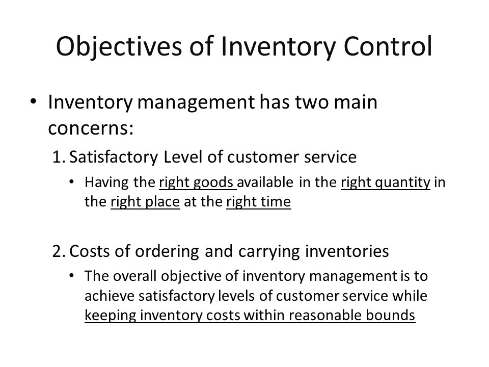 The Inventory Cycle MIS 373: Basic Operations Management Profile of Inventory Level Over Time Quantity on hand Q Receive order Place order Receive order Place order Receive order Lead time Reorder point Usage rate Time 20